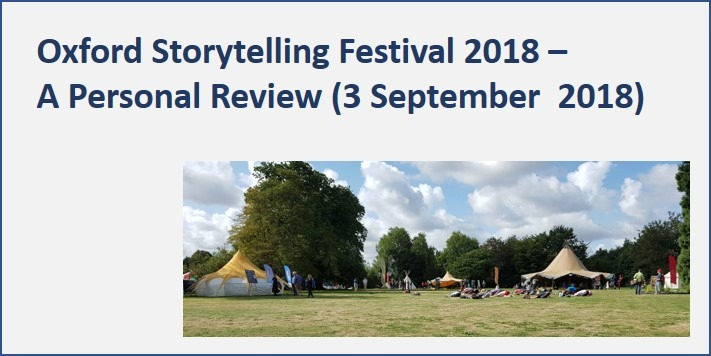 Oxford Storytelling Festival – A Personal Review September 2018